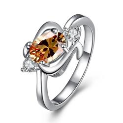 Orange Citrine Gem Spiral Emblem Petite Ring Size 8 - Thumbnail 0