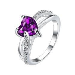 Heart Shaped Purple Citrine Spiral Petite Ring Size 8 - Thumbnail 0
