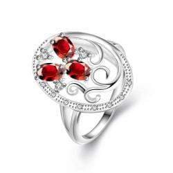 Trio-Red Ruby Swirl Design Pendant Petite Ring Size 8 - Thumbnail 0