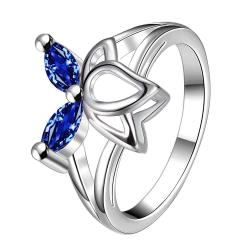 Duo-Mock Sapphire Butterfly Wings Petite Ring Size 8 - Thumbnail 0