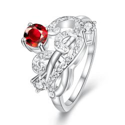 Petite Ruby Red Swirl Abstract Design Petite Ring Size 8 - Thumbnail 0