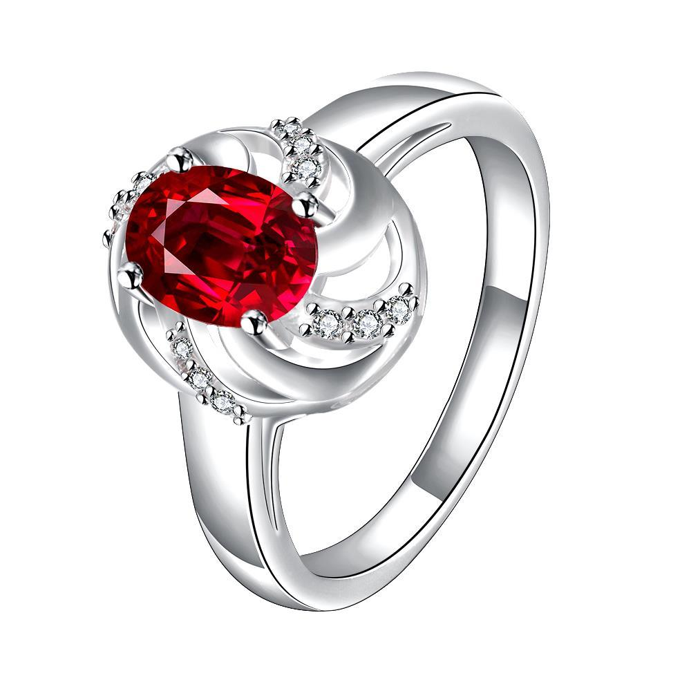 Vienna Jewelry Ruby Red Spiral Laser Cut Petite Ring Size 8
