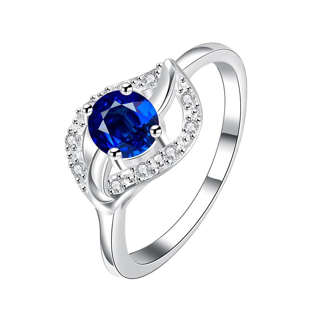Classical Mock Sapphire Floral Petal Ring Size 8