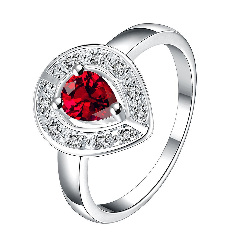 Ruby Red Curved Pendant Petite Ring Size 8