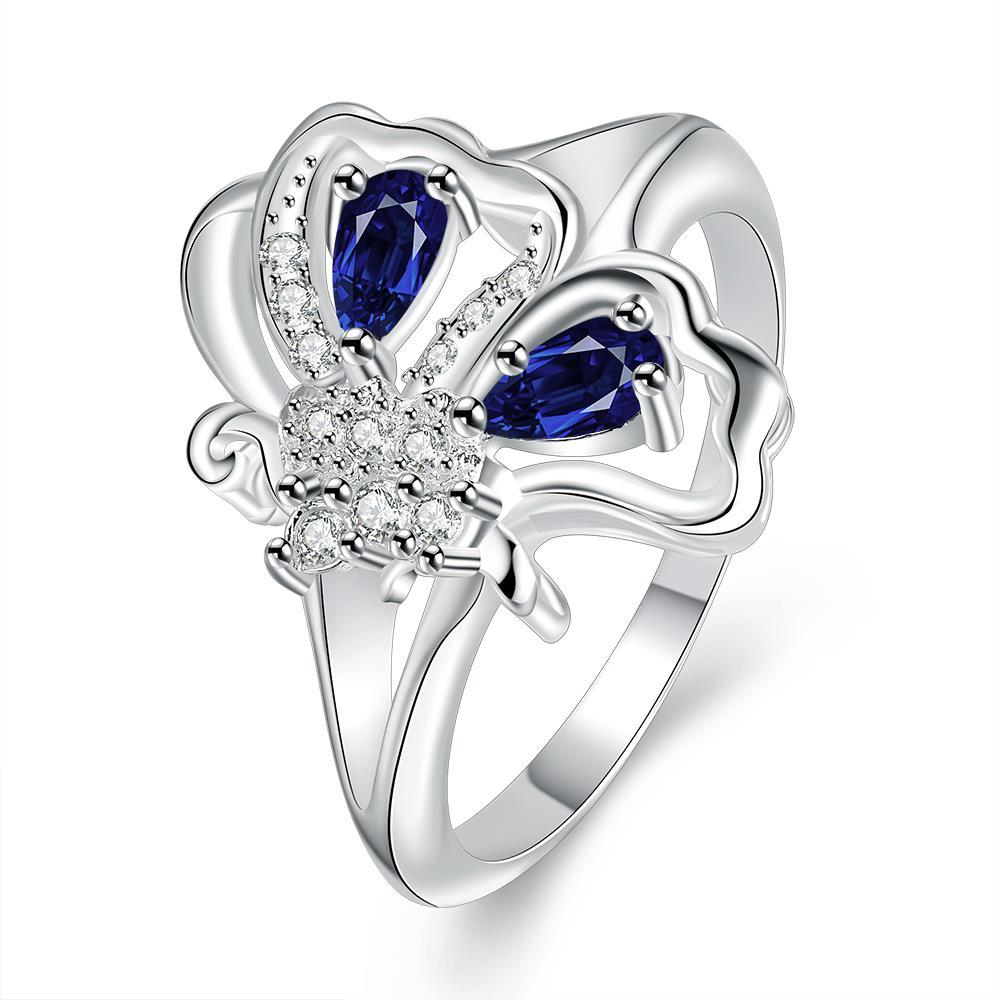 Vienna Jewelry Duo-Mock Sapphire Petite Butterfly Ring Size 8