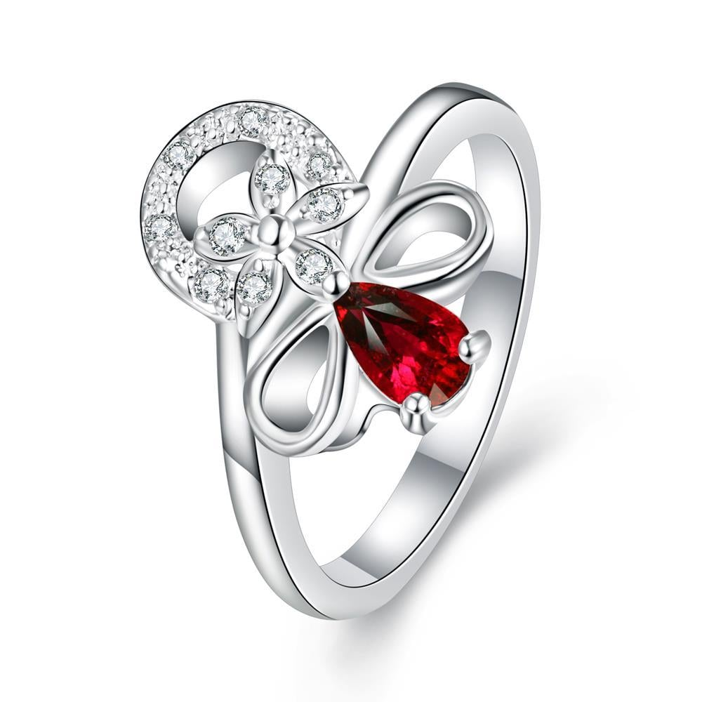 Petite Ruby Red Swirl Floral Emblem Ring Size 8
