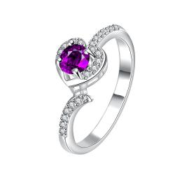 Petite Mock Purple Citrine Jewels Modern Ring Size 8 - Thumbnail 0