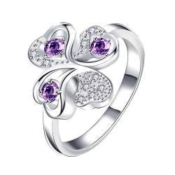 Quad-Purple Citrine Jewels Covering Clover Stud Petite Ring Size 8 - Thumbnail 0