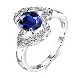 Mock Sapphire Curved Petite Jewels Ring Size 8 - Thumbnail 0