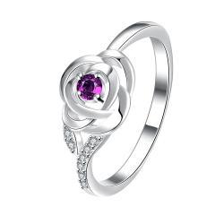 Petite Purple Citrine Blossoming Floral Ring Size 8 - Thumbnail 0