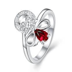 Petite Ruby Red Swirl Floral Emblem Ring Size 8 - Thumbnail 0