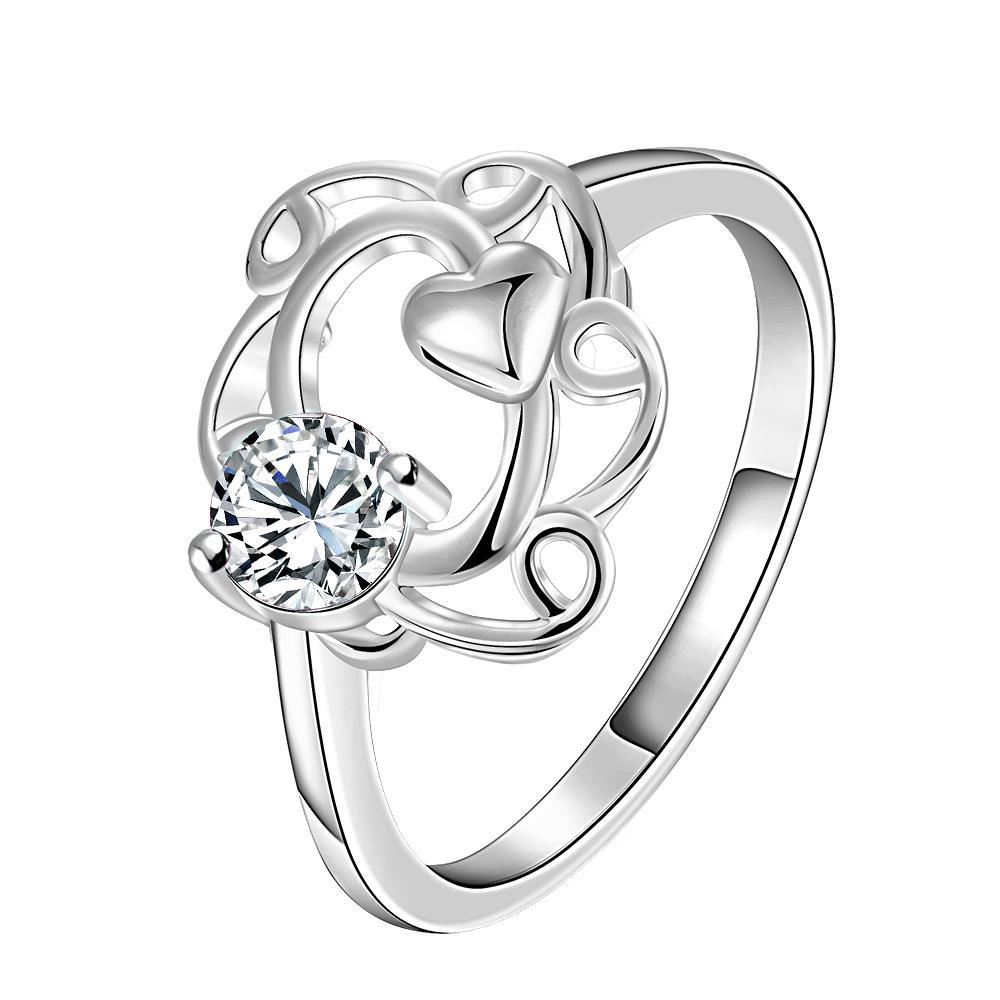 Petite Classic Crystal Spiral Curved Petite Ring Size 8