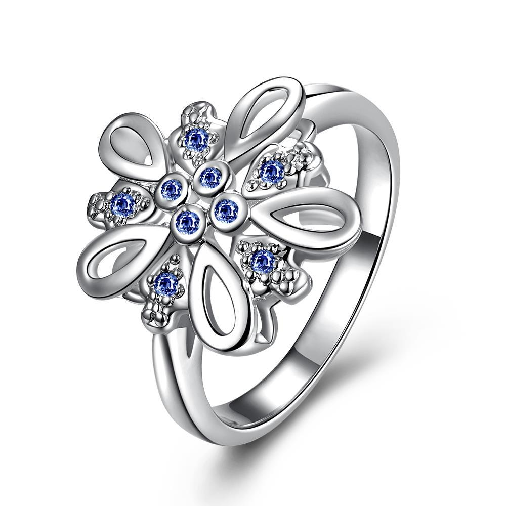 Mock Sapphire Blossoming Clover Petite Ring Size 8