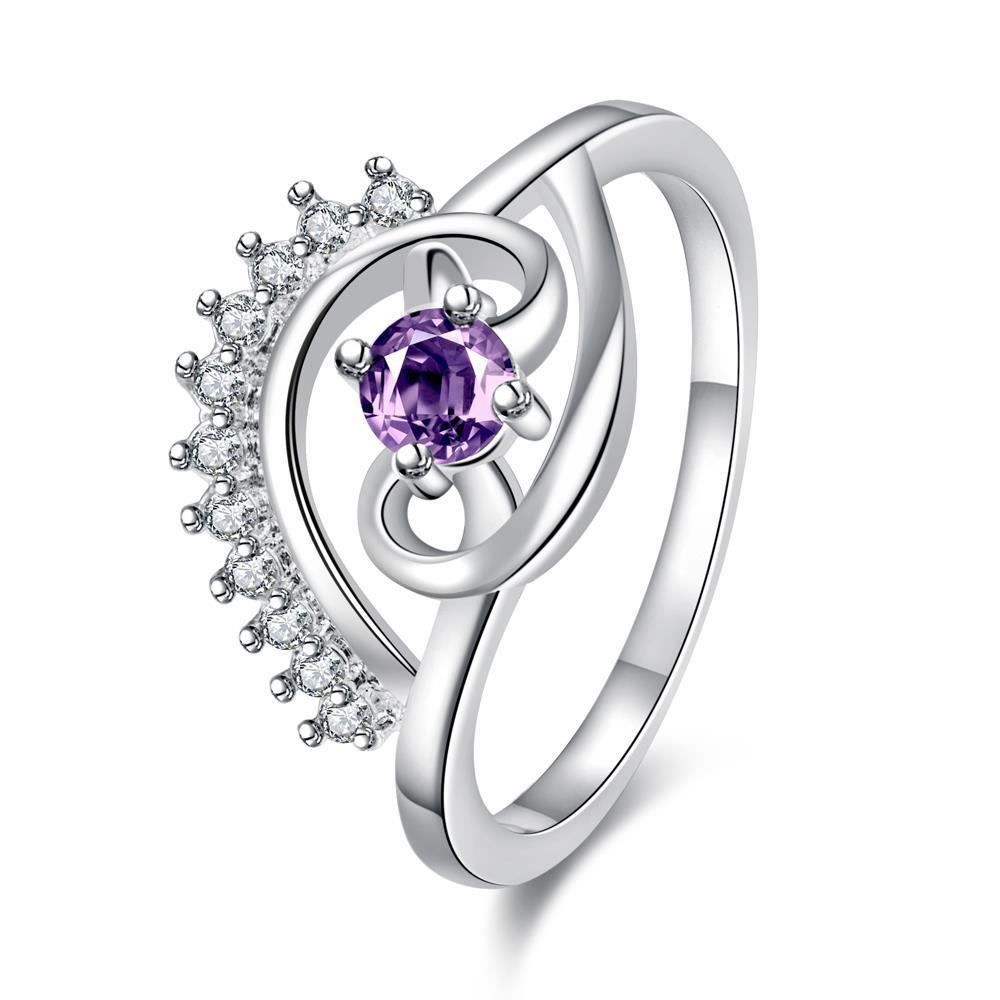 Vienna Jewelry Petite Purple Citrine Jewels Spiral Design Ring Size 8