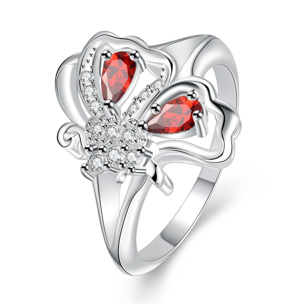 Duo-Ruby Red Petite Butterfly Ring Size 8