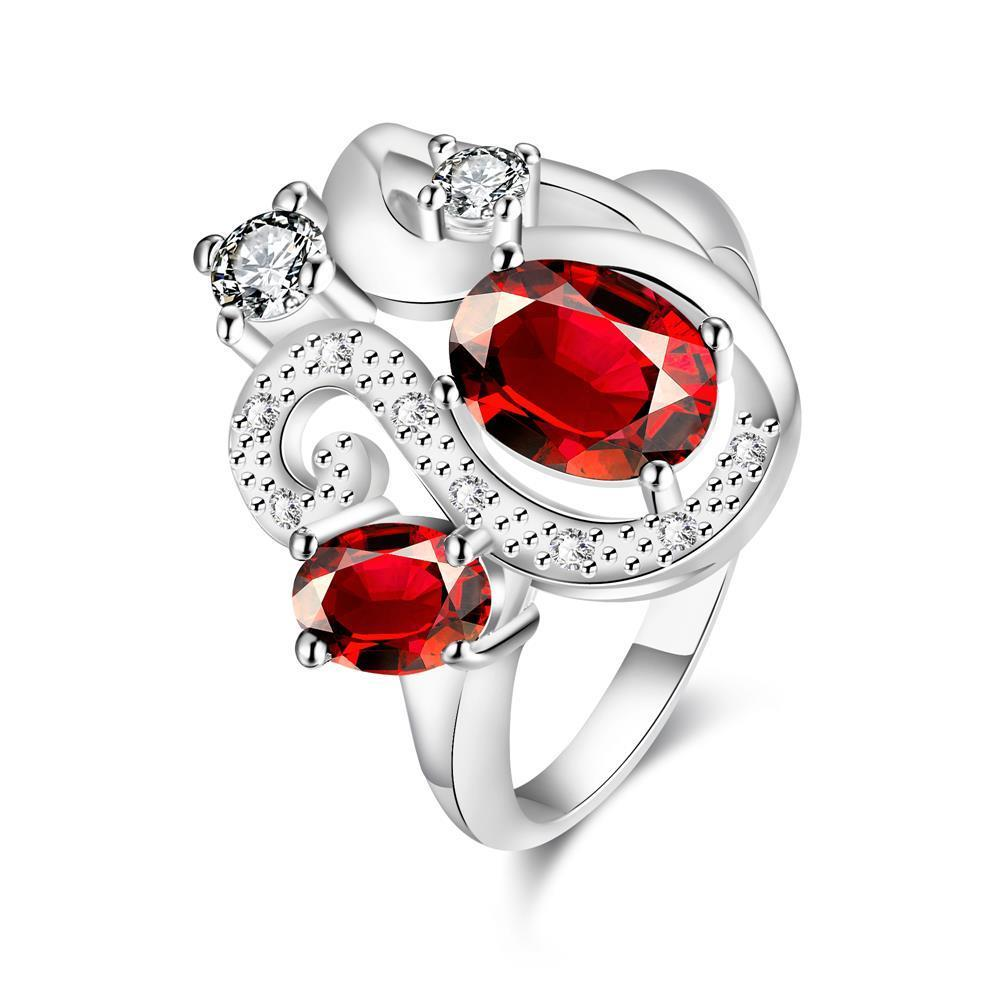 Duo-Ruby Red Gem Insert Swirl Curved Petite Ring Size 8