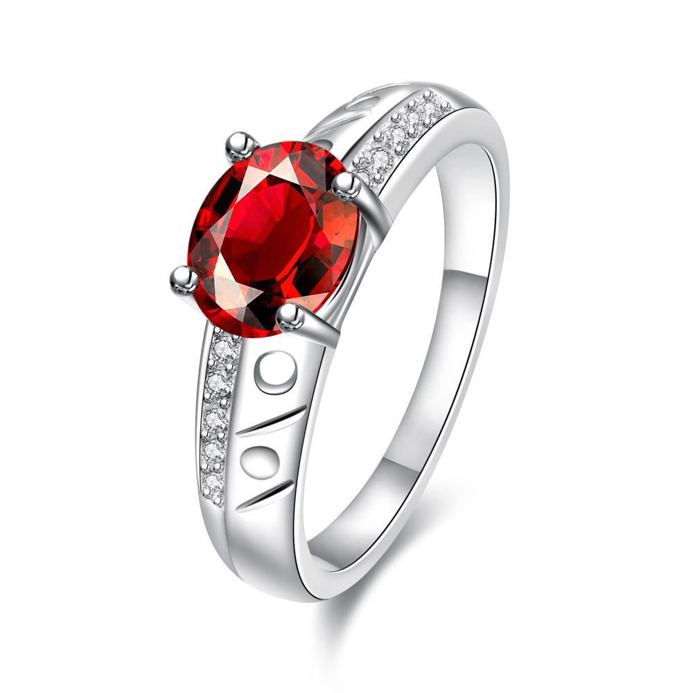 Vienna Jewelry Petite Ruby Red Laser Cut Ingrain Ring Size 8