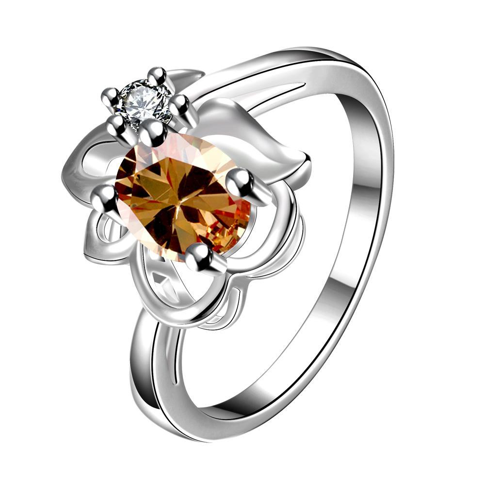 Vienna Jewelry Yellow Citrine Floral Stud Petite Ring Size 8