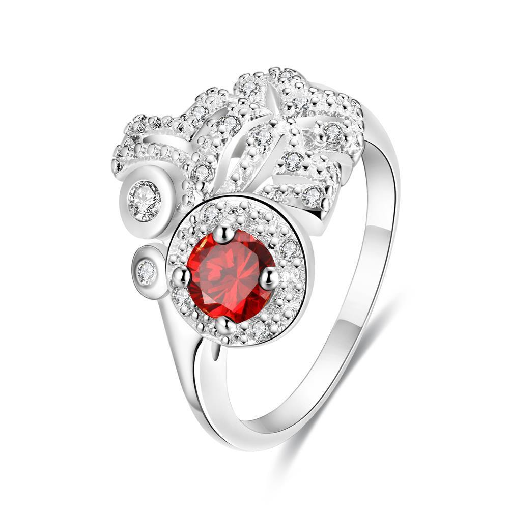 Petite Ruby Red Gem Clover Cluster Ring Size 8