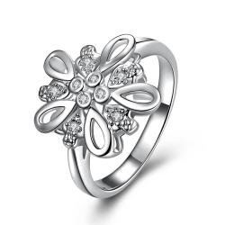 Crystal Stone Blossoming Clover Petite Ring Size 8 - Thumbnail 0