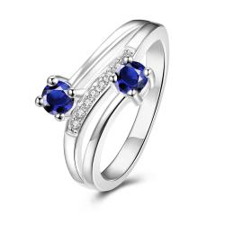 Duo-Petite Mock Sapphire Spiral Ring Size 8 - Thumbnail 0