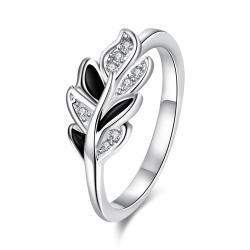 Onyx Covering Petite Floral Orchid Ring Size 8 - Thumbnail 0