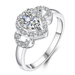 Crystal Trio-Jewels Classical Modern Ring Size 8 - Thumbnail 0