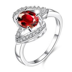 Ruby Red Curved Petite Jewels Ring Size 8 - Thumbnail 0