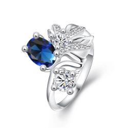 Mock Petite Sapphire Cruved Floral Orchid Ring Size 8 - Thumbnail 0