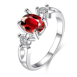 Petite Ruby Red Gem Duo Stone Ring Size 8 - Thumbnail 0