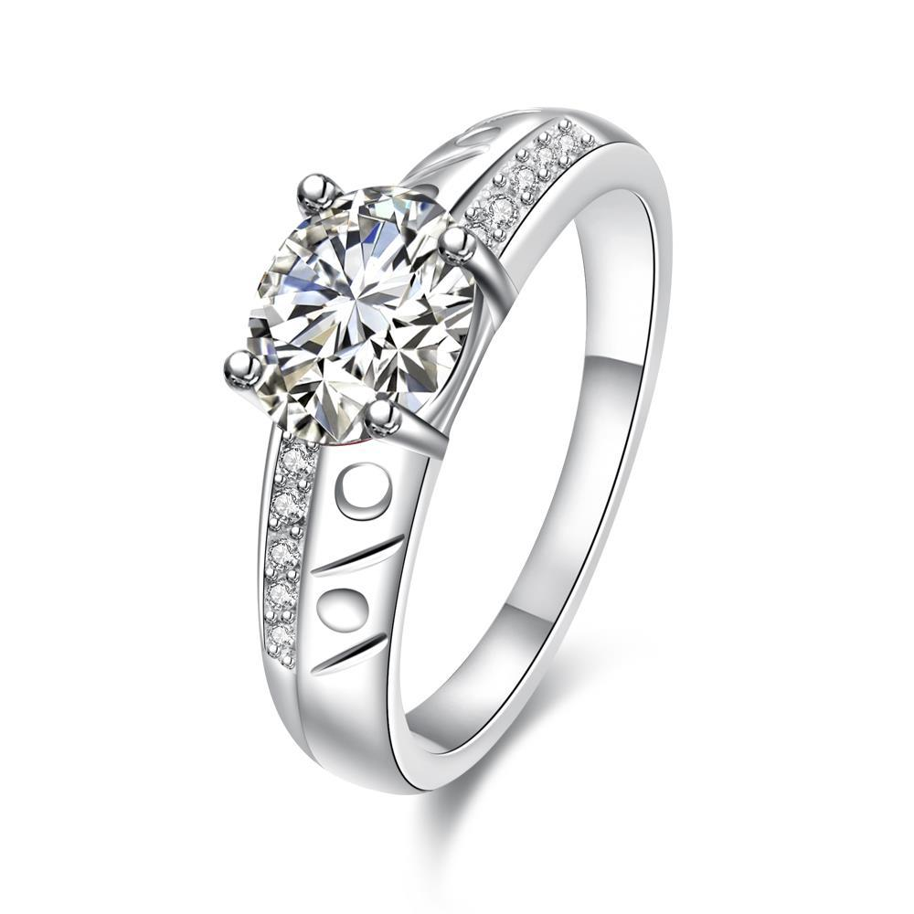 Vienna Jewelry Petite Classic Crystal Laser Cut Ingrain Ring Size 8