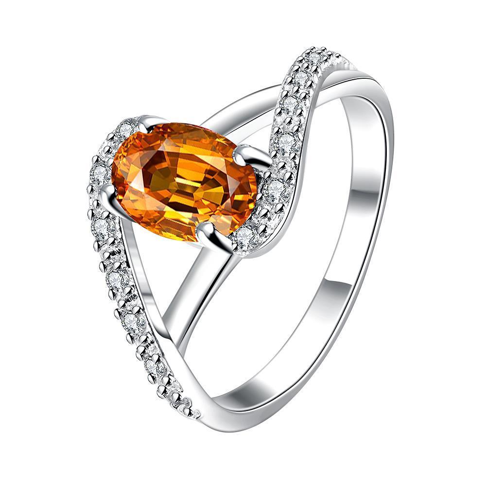 Vienna Jewelry Petite Orange Citrine Swirl Design Twist Ring Size 8