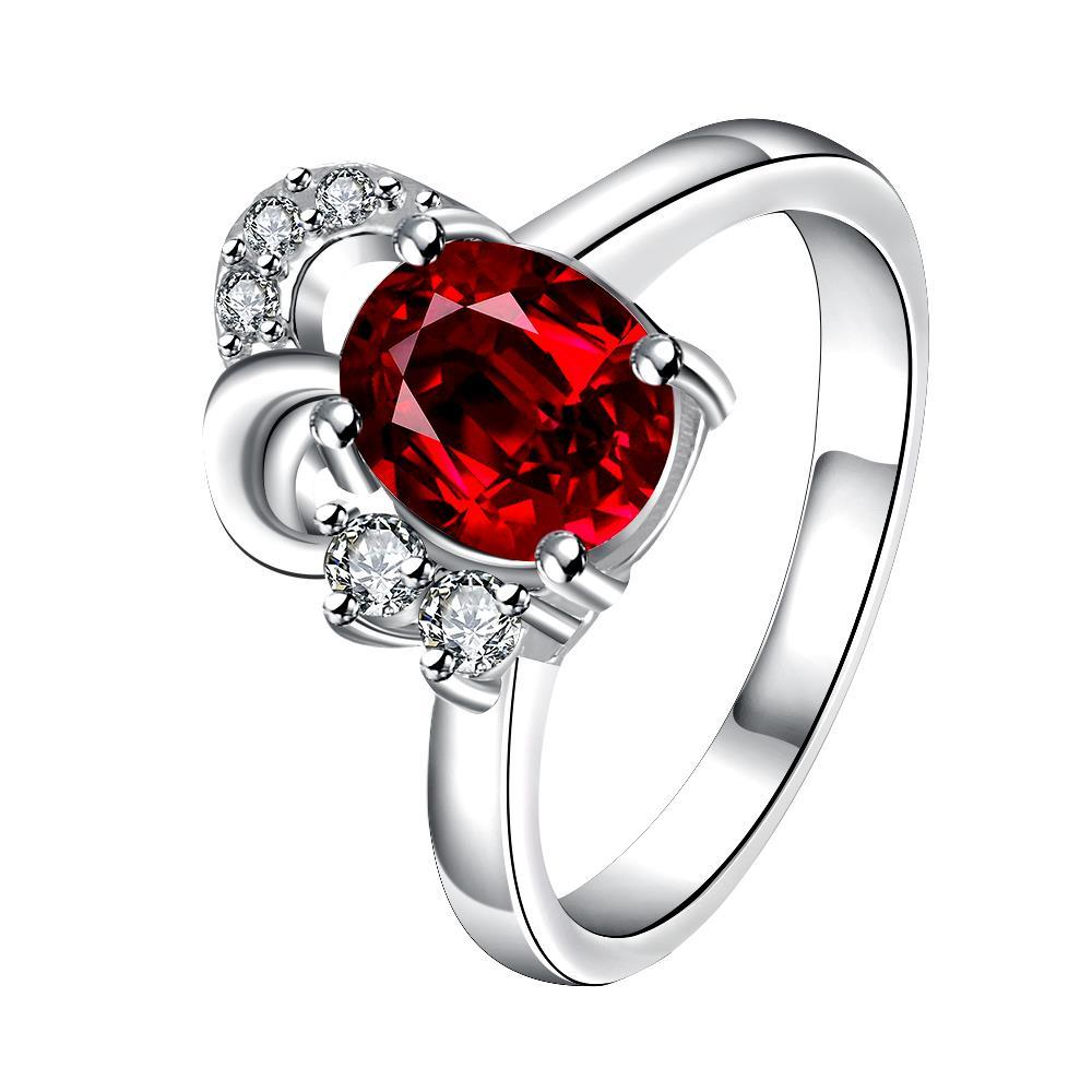 Vienna Jewelry Petite Ruby Red Curved Jewels Covering Classic Ring Size 8
