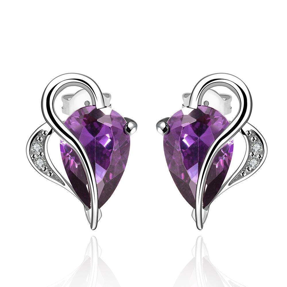 Vienna Jewelry Half Heart Curved Purple Citrine Earrings