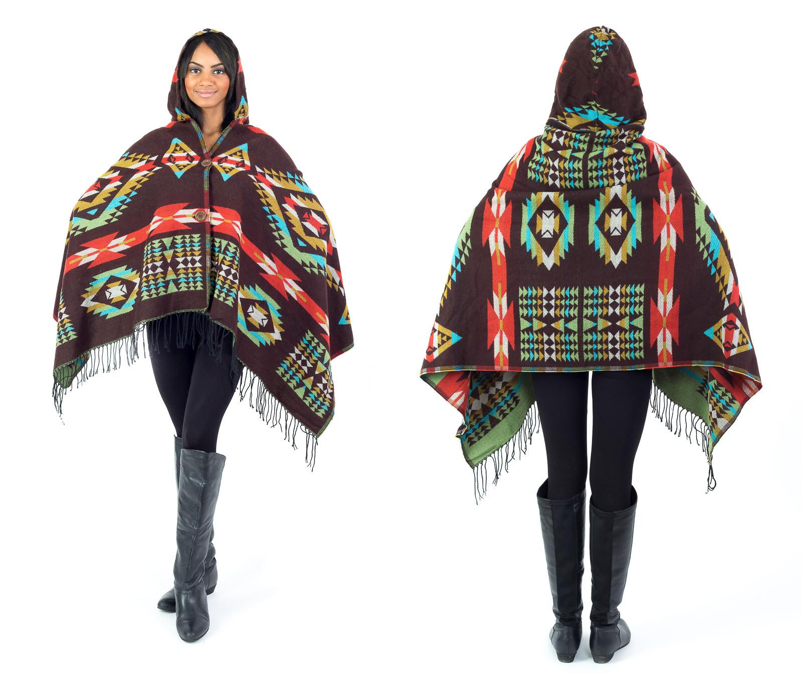 Women's Fall Winter Tribal Poncho with Buttons and Hood