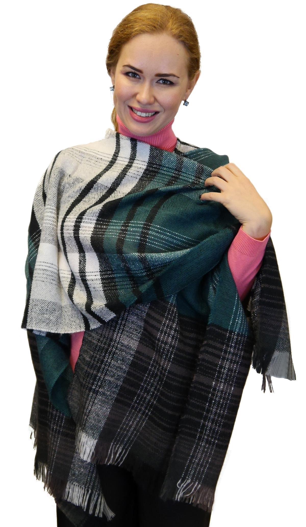 Plaid Checks Soft Wool Feel Poncho Cape Shawl Wrap, Black Green Grey