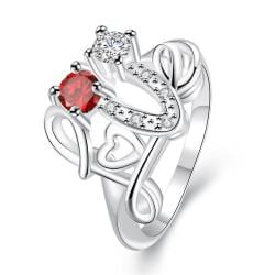 Petite Ruby Red Swirl Design Open Ring Size 8 - Thumbnail 0