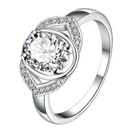 Open Crystal Stone Gem Modern Petite Ring Size 8 - Thumbnail 0