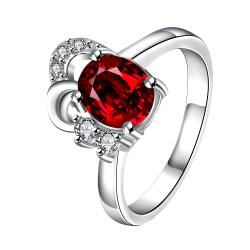 Petite Ruby Red Curved Jewels Covering Classic Ring Size 8 - Thumbnail 0