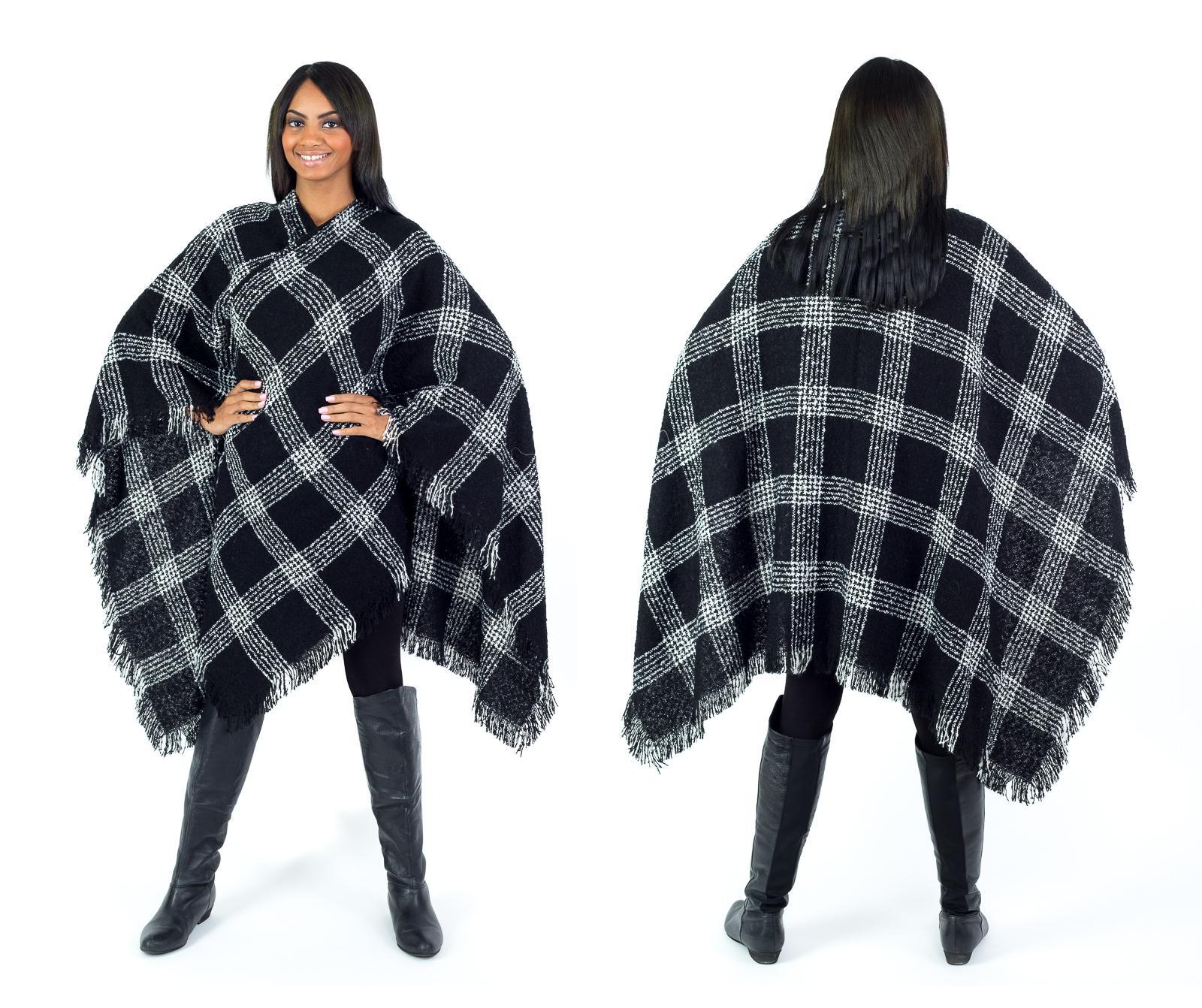 Women's Fall Winter Poncho Cape Shawl Wrap, Black
