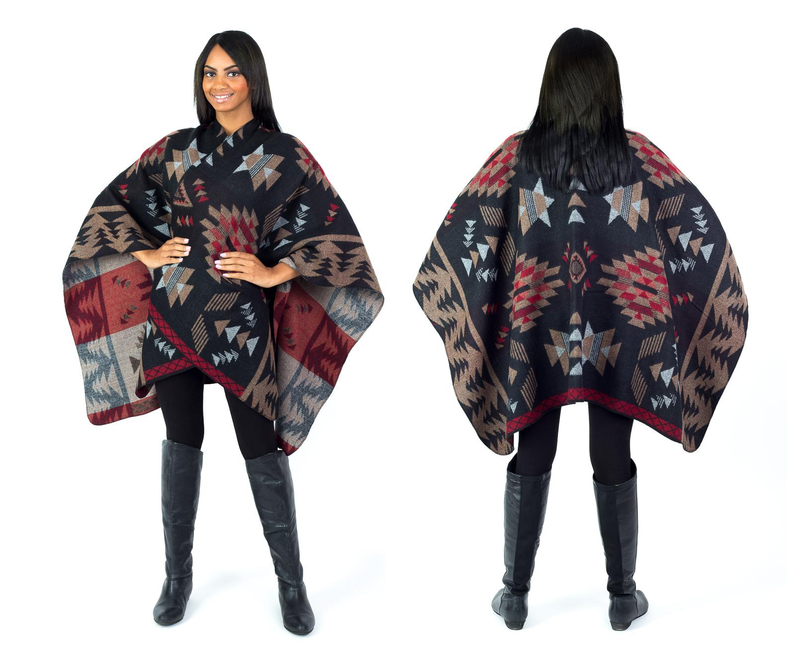 Women's Fall Winter Tribal Poncho - Thumbnail 0