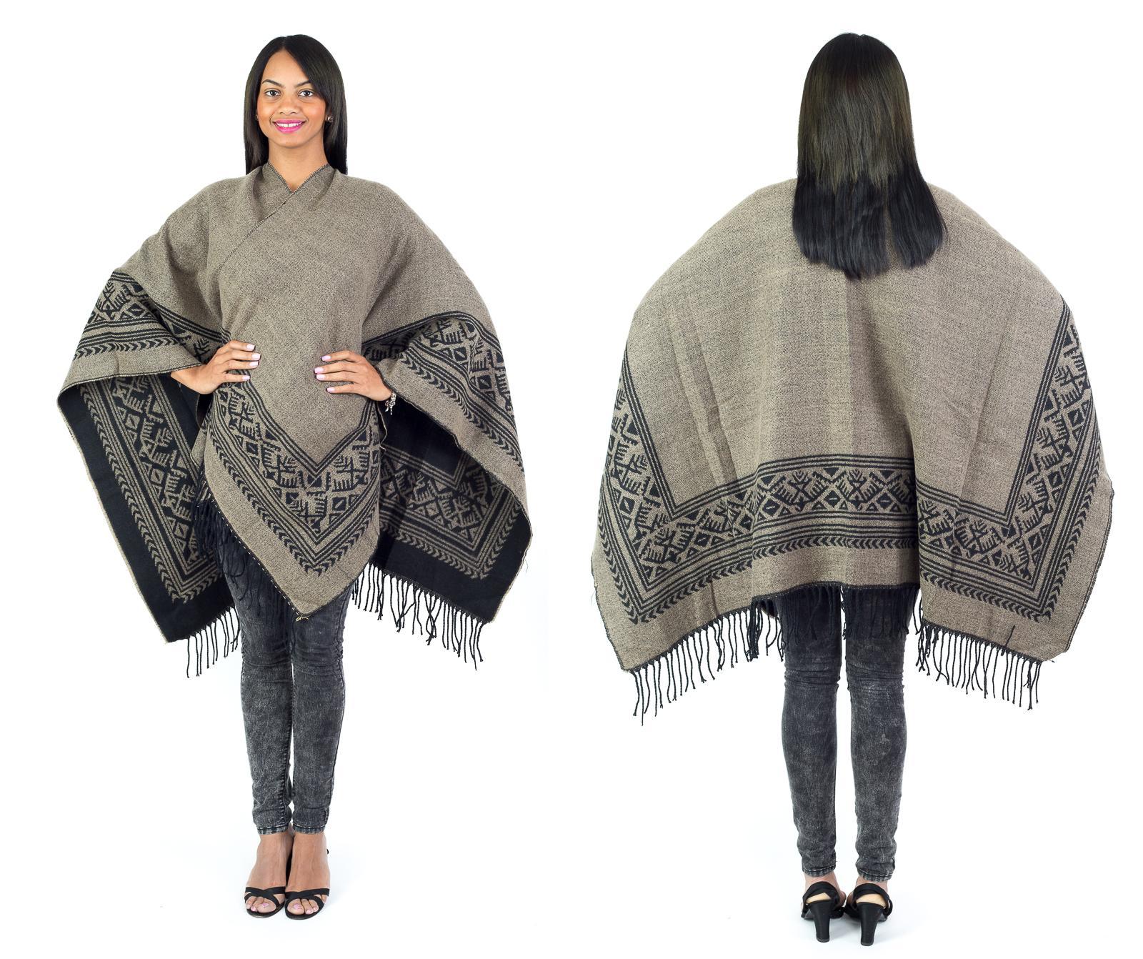 Women's Fall Winter Poncho Cape Shawl Wrap, Coffee Brown