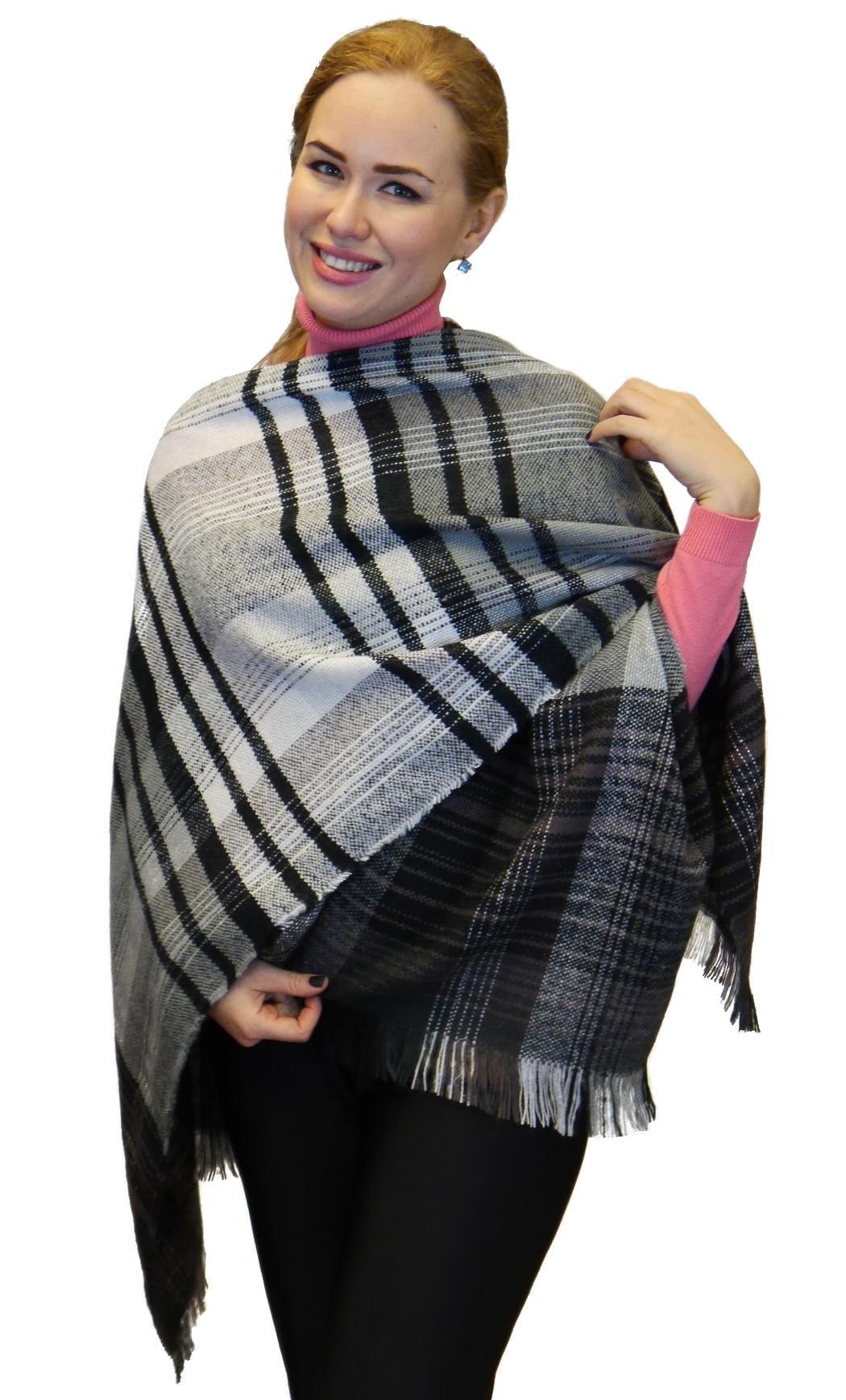 Plaid Checks Soft Wool Feel Poncho Cape Shawl Wrap, Black Light Grey