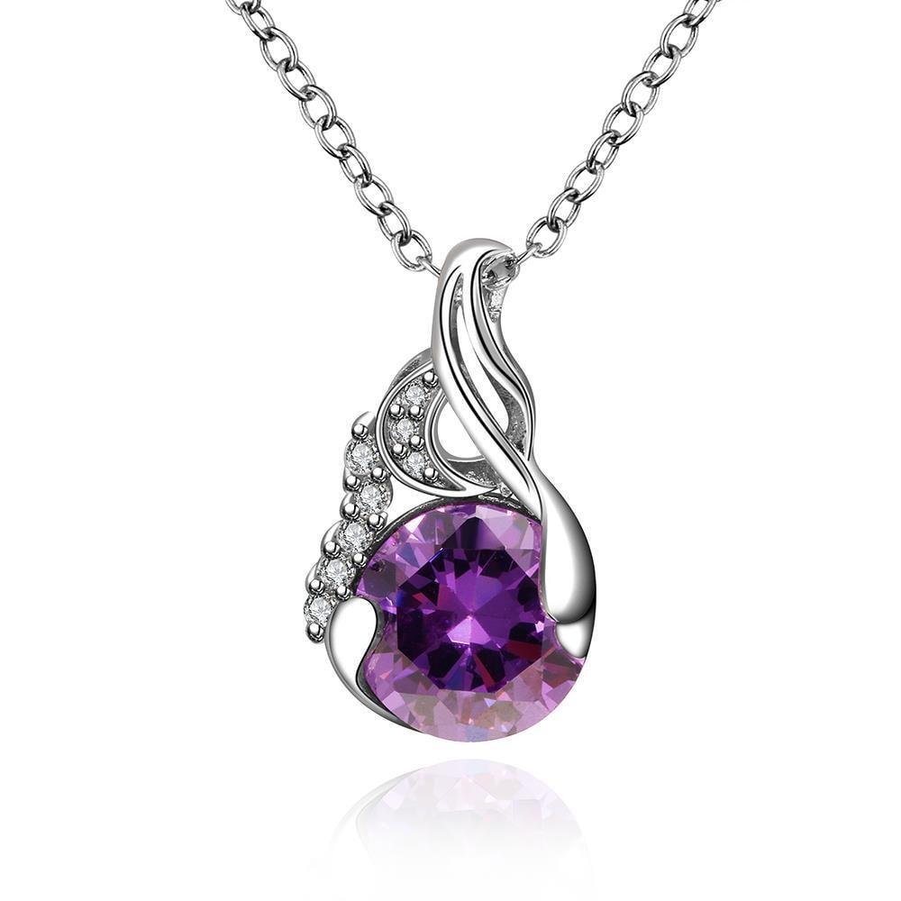 Vienna Jewelry Purple Citrine Petite Gem Curved Lining Necklace
