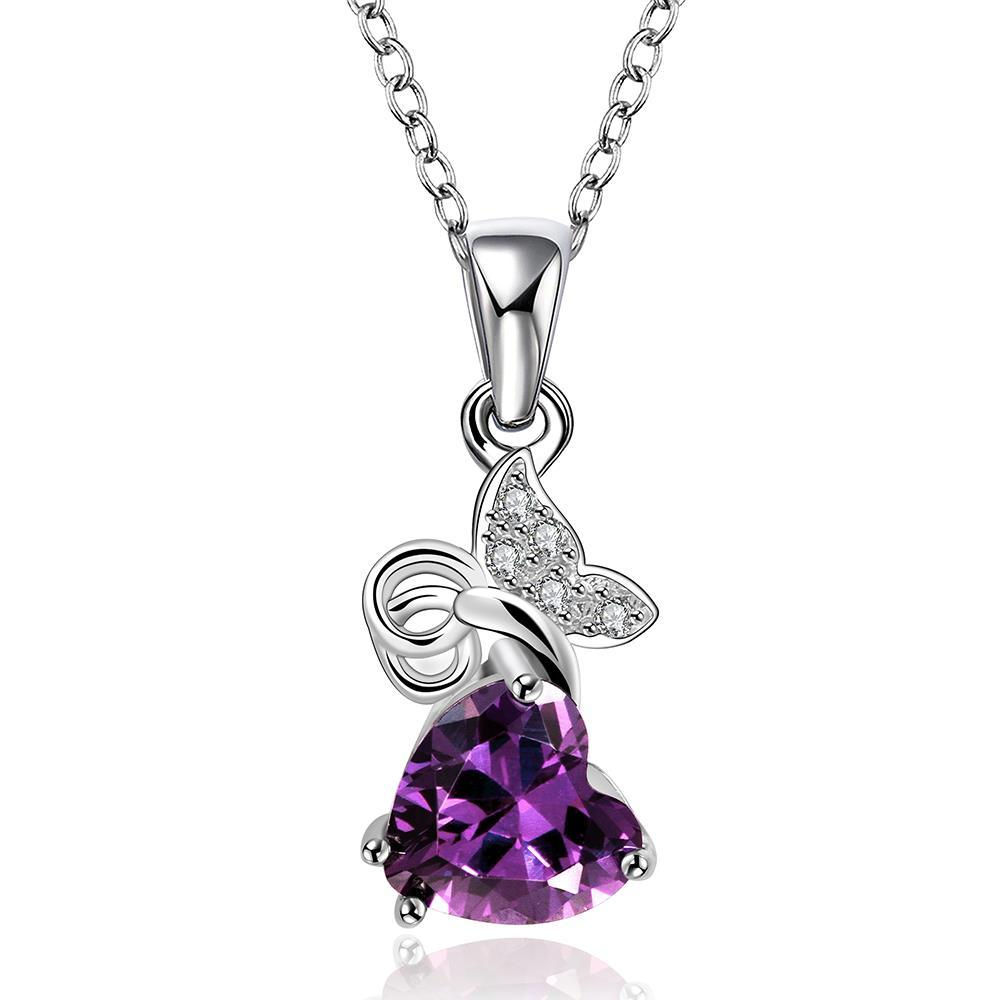 Vienna Jewelry Petite Purple Citrine Butterfly Classic Necklace