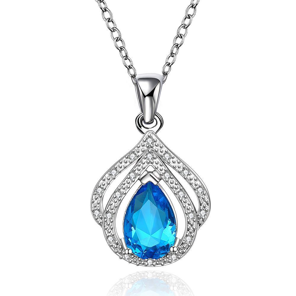 Vienna Jewelry Mock Sapphire Gem Crown Jewel Necklace