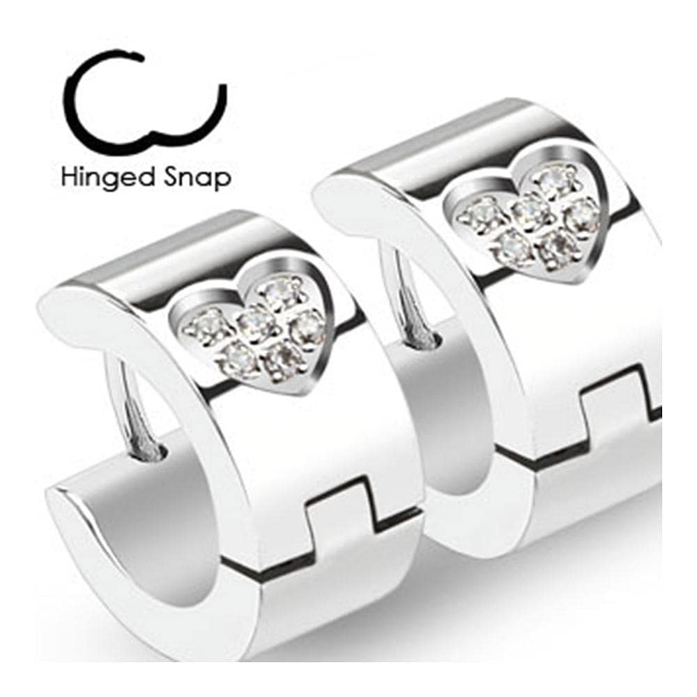 Pair of 316L Surgical Stainless Steel Hoop Earring with Multi Paved CZ Within Heart Shape