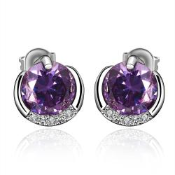 Vienna Jewelry Purple Citrine Jewels Layering Stud Earrings - Thumbnail 0