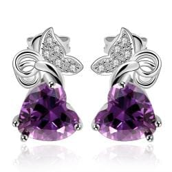 Vienna Jewelry Purple Citrine Heart Shaped Butterfly Drop Earrings