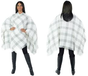 Women's Fall Winter Poncho Cape Shawl Wrap, White - Thumbnail 0